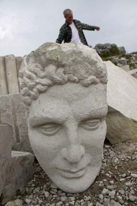Classical head with student  in perspective